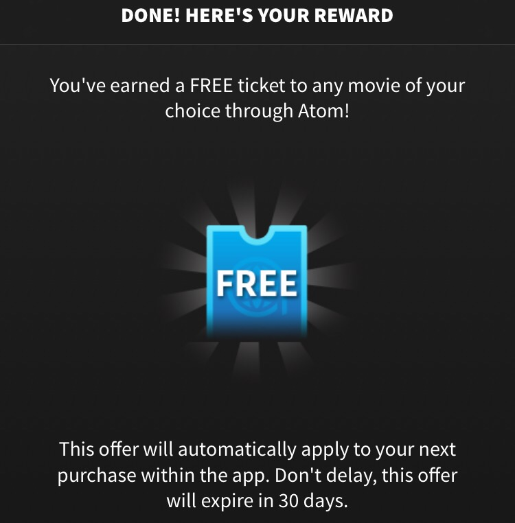 Atom movie tickets free