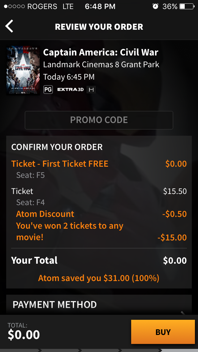 Atom free movie ticket